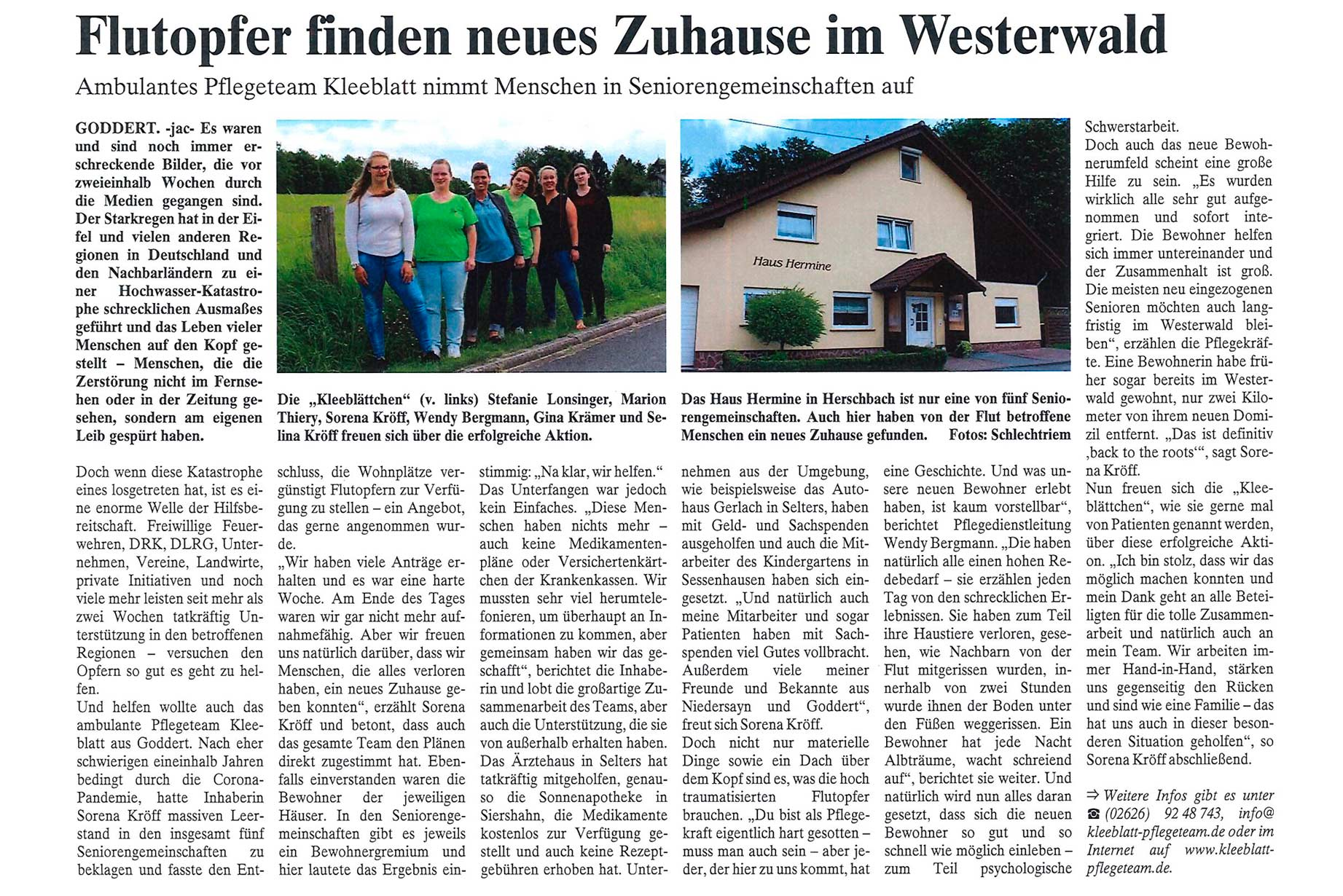 Read more about the article Flutopfer finden neues Zuhause